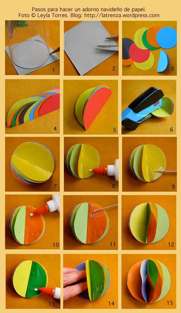 Esferas de papel manualidades pinterest for Navidad adornos manualidades navidenas