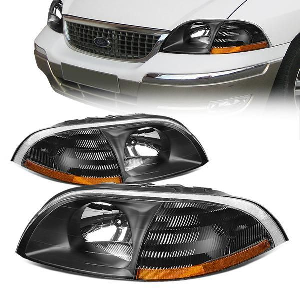 99 03 Ford Windstar Headlights Black Housing Amber Corner Ford Windstar Headlights Ford