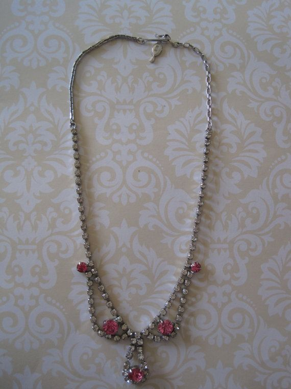 VINTAGE Sarah Coventry Pink & Crystal Rhinestone Necklace.  US$18.00 plus shipping!  https://www.etsy.com/ca/listing/218506307/vintage-sarah-coventry-pink-crystal?ref=shop_home_active_4