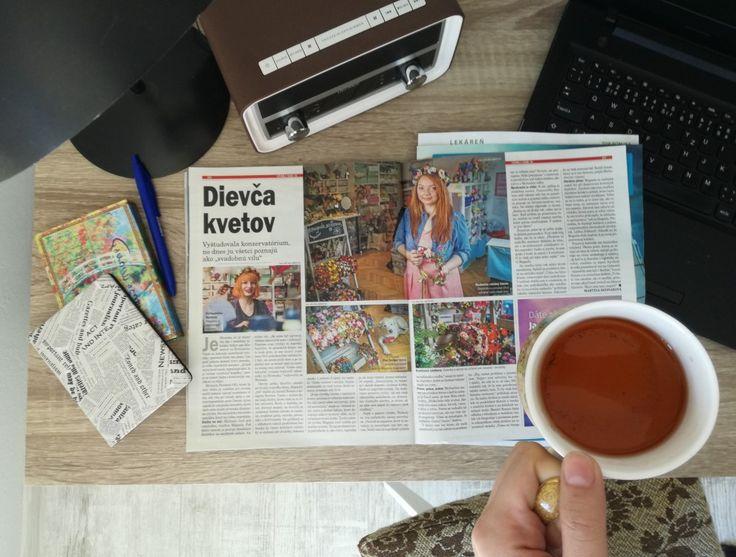 Work. Workdesk. Cup of tea. Journal. PR. Diary. Radio. Magaela
