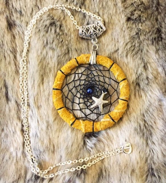 Dreamcatcher necklace with Starfish Charm and 18' chain by EarthDiverCreations on Etsy https://www.etsy.com/ca/listing/473741644/dreamcatcher-necklace-with-starfish