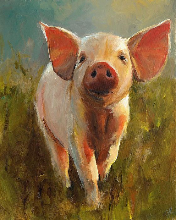 Morning Pig Painting by Cari Humphry - Morning Pig Fine Art Prints and Posters for Sale