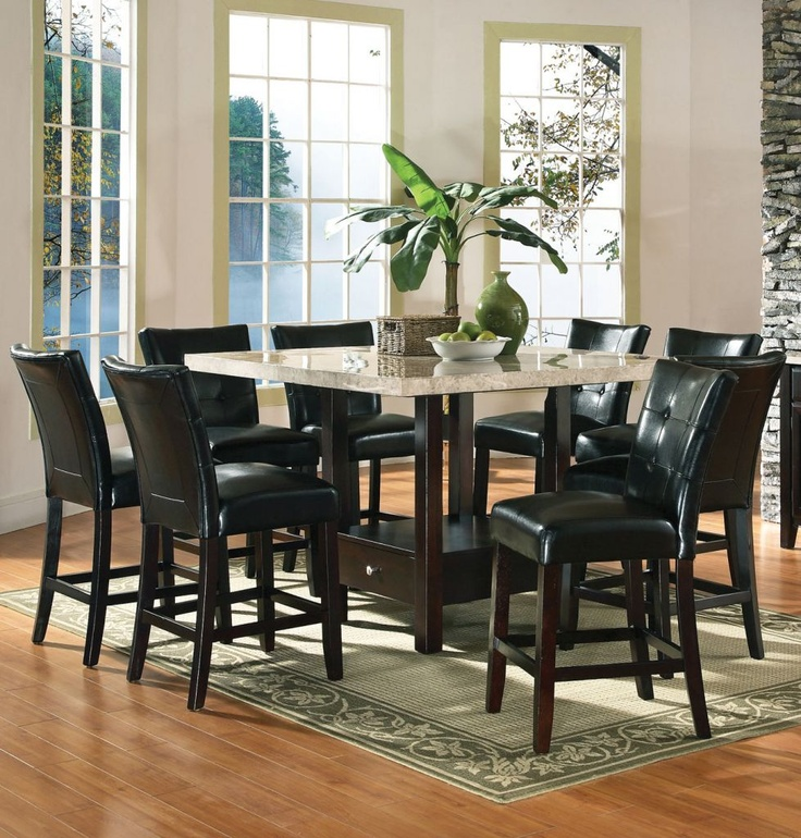 Steve Silver Monarch 9 Piece Marble Top Counter Height Set W/ Storage Base  ** Love This Table ** Redecorating Anyone ?
