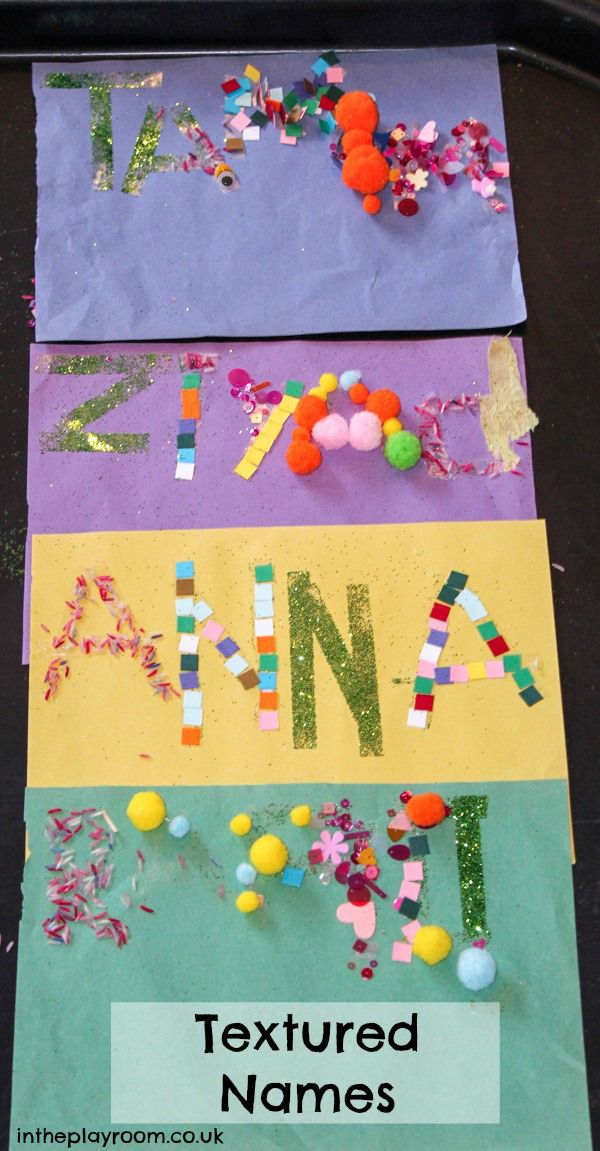 textured names with double sided tape. Fun name recognition activity for kids