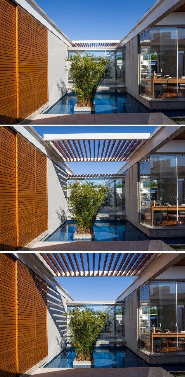 Pergolado móvel deslisante, estrutura de metal e pergolas de madeira, espelho dágua e portas do piso ao teto. 10 Pergolados incríveis para a área externa.
