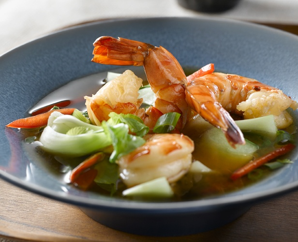 Shrimp and Bok Choy Soup with Hoisin #recipe #easy  Prep Time: 5 min. Cook Time: 10 min. Serves: 4.