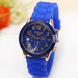 $3.61 WoMaGe Quartz Watch 6 Numbers and Rectangles Indicate Rubber Watch Band for Women - Blue
