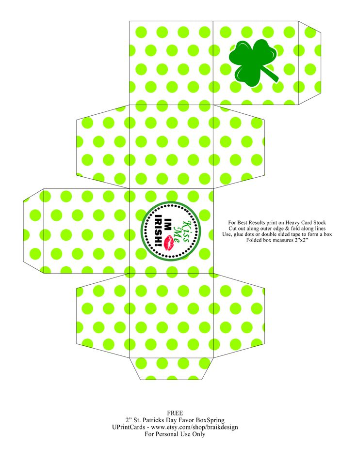 st patrick's day little gift box: Little Boxes, St. Patrick'S Day, Favor Boxes, Boxes Printables, St Patricks, St Patrick'S Day, Printable Box