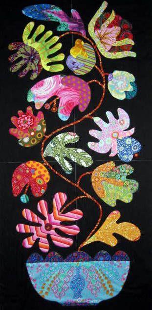 Flower Pots quilt panel | Kim McLean in Denmark