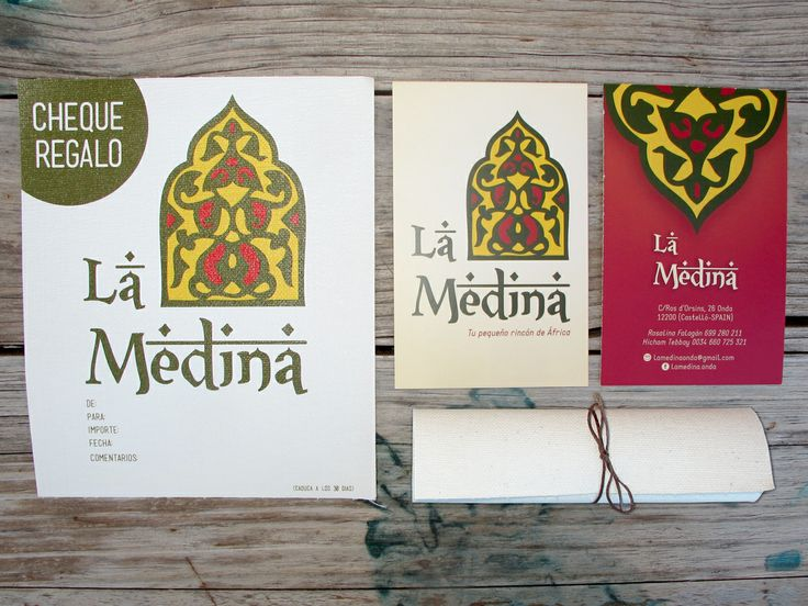 Logotipo, tarjetas y cheque regalo impreso sobre lienzo para La Medina