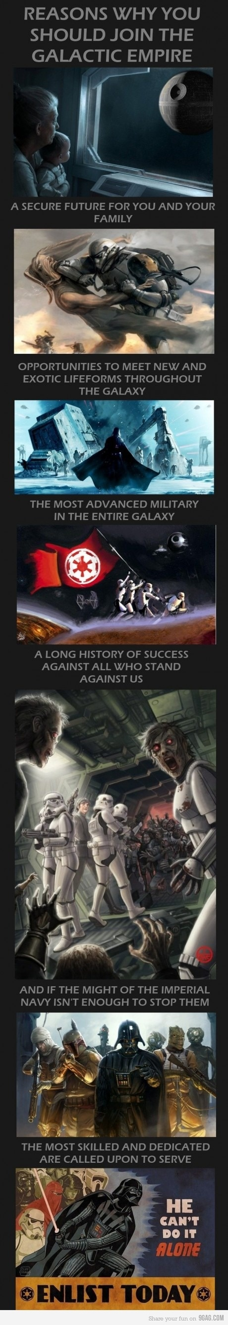 Join the Galactic Empire. Star Wars-inspired illustration. Similarity in overbearing, corrupt organisation ruling for the sake of power.