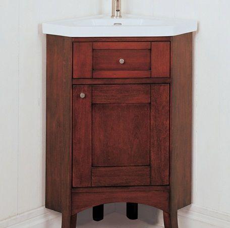 """Shaker 26"""" Corner Vanity and Sink Set - Dark Cherry"""