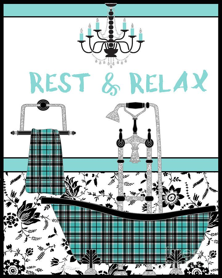 Lovely Aqua Plaid Bath Room Art Created By Jean Plout.