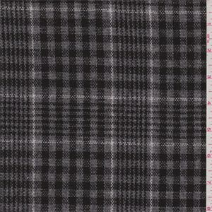 Dark grey, black and white yarn dyed plaid . A light to mid weightplain weave suiting fabric with a semi-soft hand. 100%wool imported from Japan. Ideal for lined suits and slacks.Compare to $25.00/yd