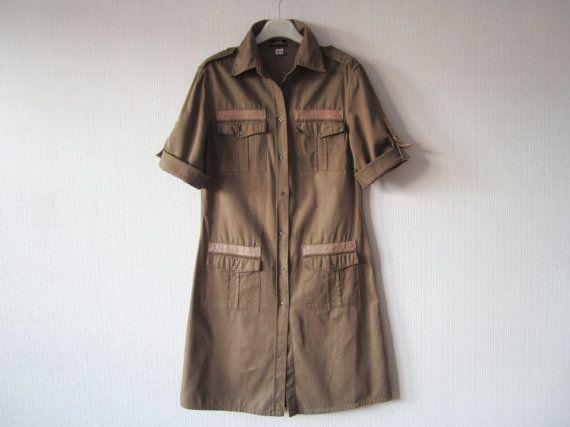 Khaki Brown Safari Dress Button Up Cotton Shirt Dress