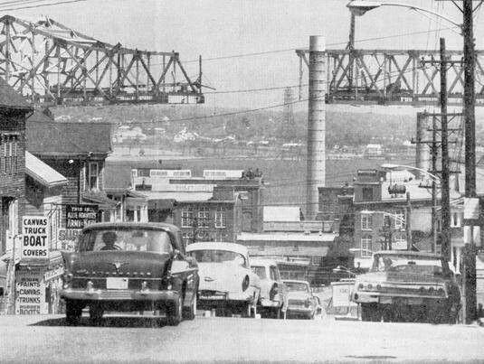 Fall River, MA. Looking north down Broadway, Braga bridge partially built.