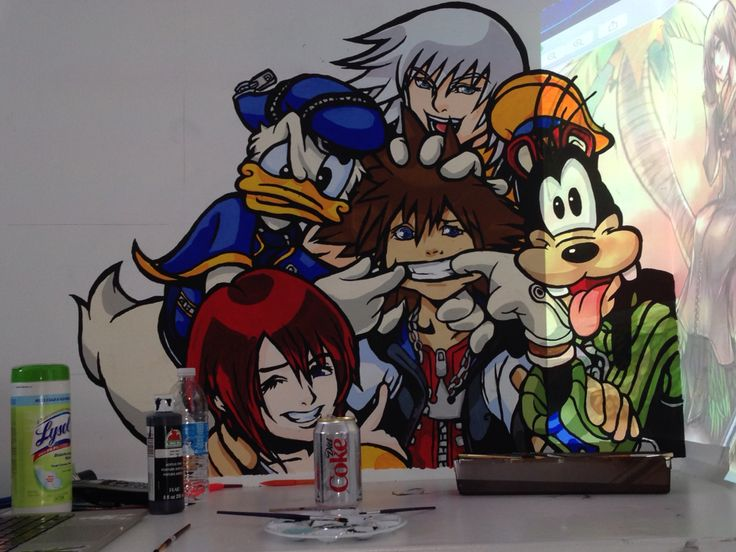 Kingdom Hearts Mural. The final product. I repainted the black lines and was actually super happy that it turned out ok. Forgive the bad lighting, it's because of the projector i was using top start the next group. That's why Xion has magically appeared in the corner.