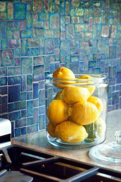 Oceanside Glass tile – kitchen backsplash – Tessera Series – Cobalt Iridescent