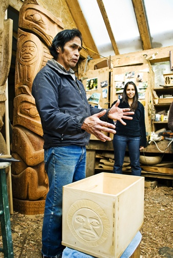 Joe Martin, a local first nations carver that has created a number of pieces around the Inn in the carving shed mere footsteps from your room www.wickinn.com