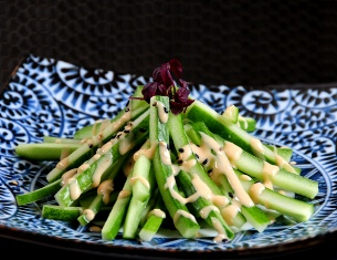 CUCUMBER STRIPS WITH SESAME DRESSING