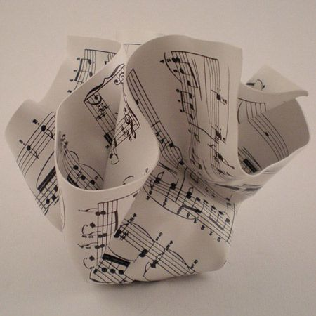 crumpled music note paperweight