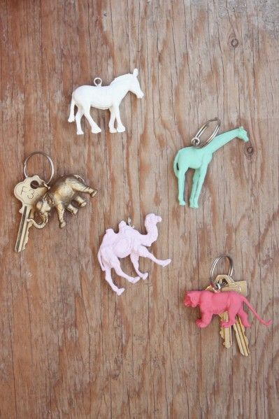 Make Animal Keychains from dollar store plastic animals - great gift idea