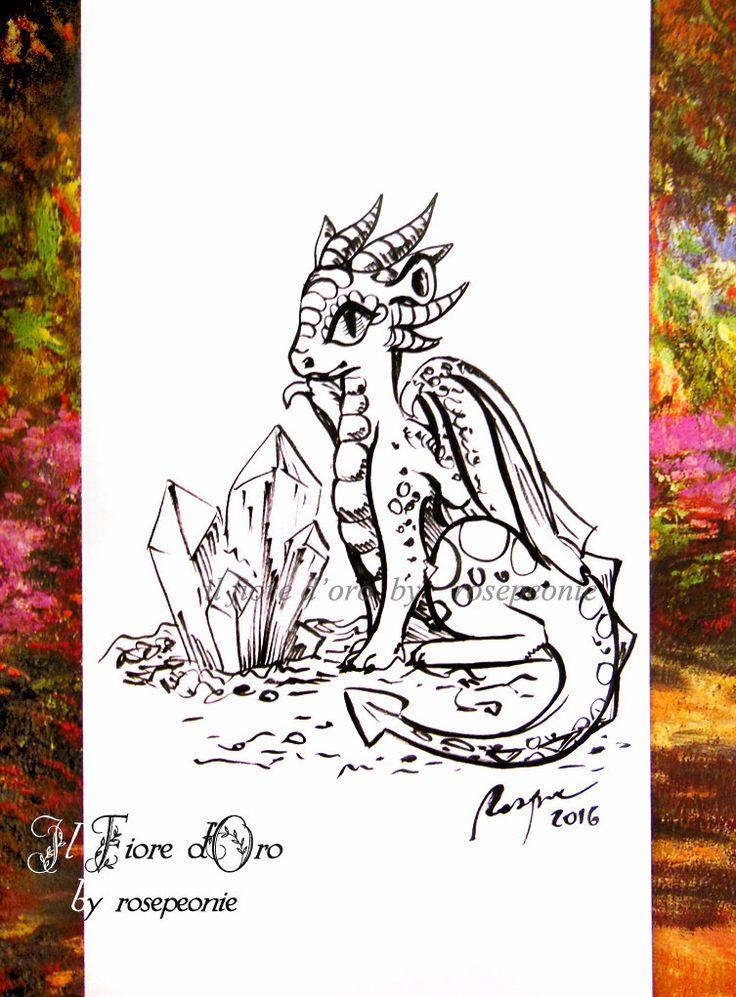 Drago cacciatore di cristalli. Disegno Haiku, illustrazione fantasy originale a inchiostro su carta alta qualità, drago mito collezione di ilFioredOro su Etsy https://www.etsy.com/it/listing/280130386/drago-cacciatore-di-cristalli-disegno