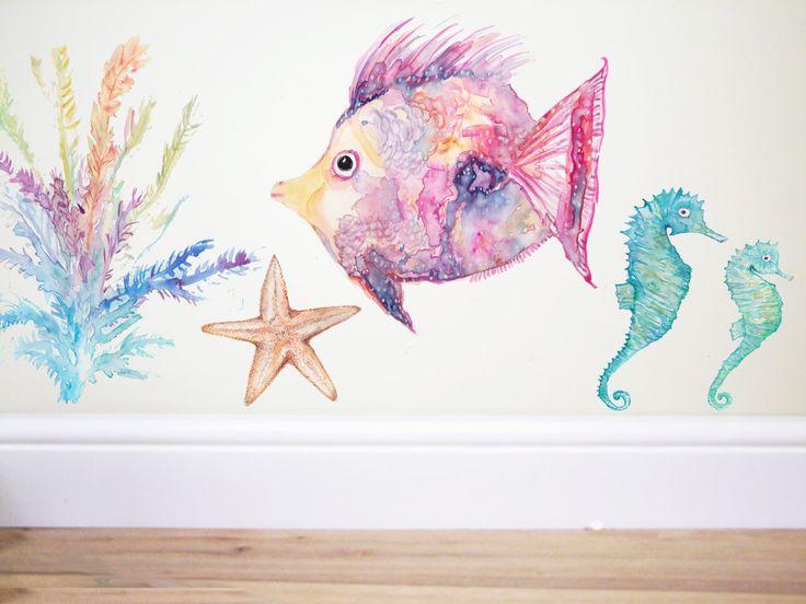 Rainbow fish, Fish wall decal,under the sea,sea nursery, ocean decor,kids room,fish sticker,nautical decor,nautical nursery,sea…