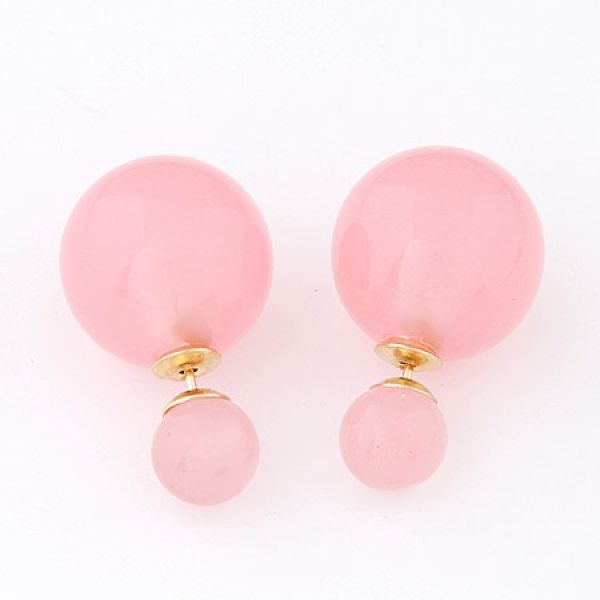 Double Sided Ball Stud Earrings Pink Glossy - Majesty Case
