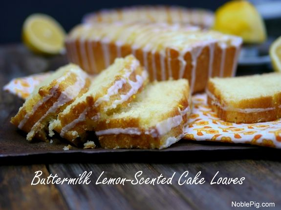 Buttermilk Lemon Scented Cake Loaves from NoblePig.com