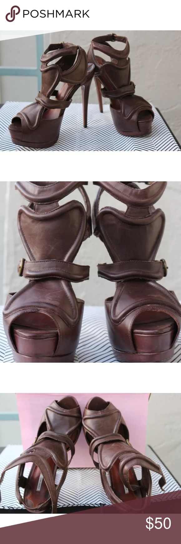 """LEON MAX BRAVO 7.5 M Gladiator Ankle Strap Platfor LEON MAX BRAVO 7.5 M Gladiator Ankle Strap Platform Brown Leather Heel Sandals  With normal wear. Heels are 5"""" leon Max Bravo Shoes Heels"""