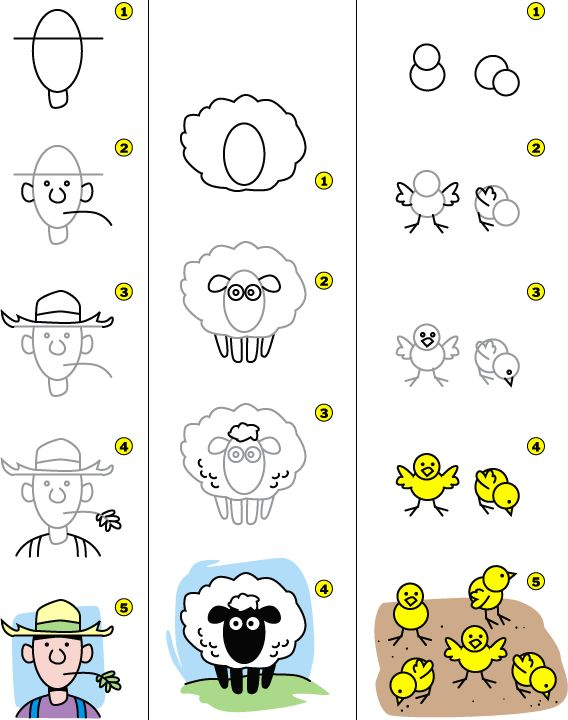 How to draw a farmer, sheep and chicks.