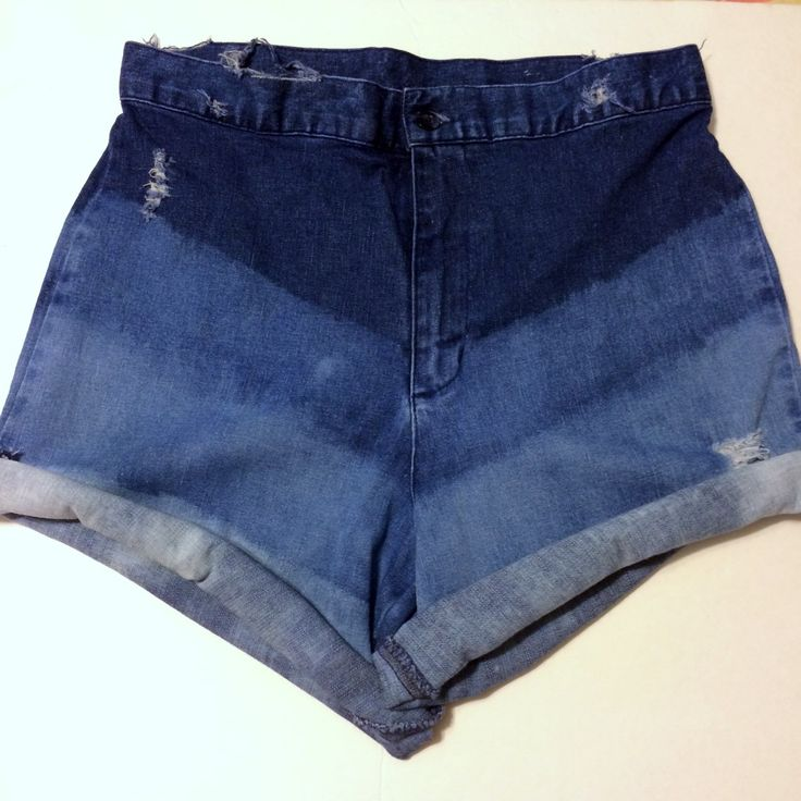 Unique High-Waist Denim Shorts, Customized by Damsel In Distress  Four Tone, Chevron Design, Light Distressing, These Shorts can be Worn Rolled Up or Rolled Down! (Lightest tone seen more when Rolled Down) These Shorts were created for a very happy customer! But any our our looks cans be recreated!