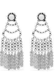 Dolci tasseled beaded silver-plated earrings