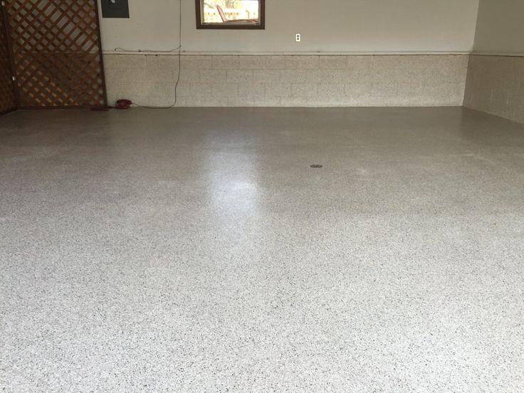 Decorative and Durable Epoxy Flake Garage Flooring in Clinton, Illinois.