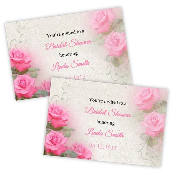 Bridal Shower Invitation Postcard  - Romantic Pink Roses - DIY Printable Template 4x6 - Instant Download - Microsoft Word Format