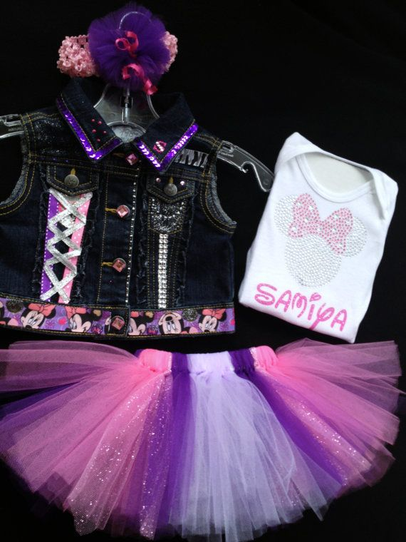 Girls MINNIE  Tutu N Jean Vest outfit size 4 by JamsGrandmasTutus