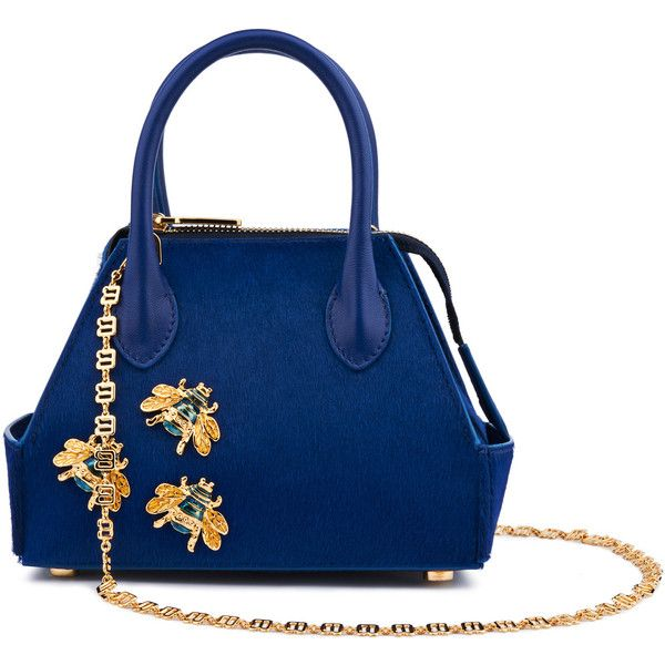 La Perla Bags Blue Pony Skin Mini Ada Bag With Bee Embellishments ($2,480) ❤ liked on Polyvore featuring bags, handbags, intimates, structured purse, blue handbags, blue evening purse, mini handbags and evening handbags