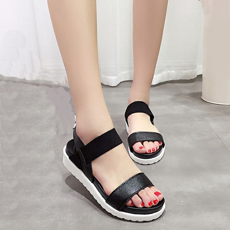 Condition: New Name:Women Flat Sandals Color: Black,white,silver Available  Size: US 39 Material: Synthetic Leather Sole: Rubber Heel Shape: Small  wedges ...