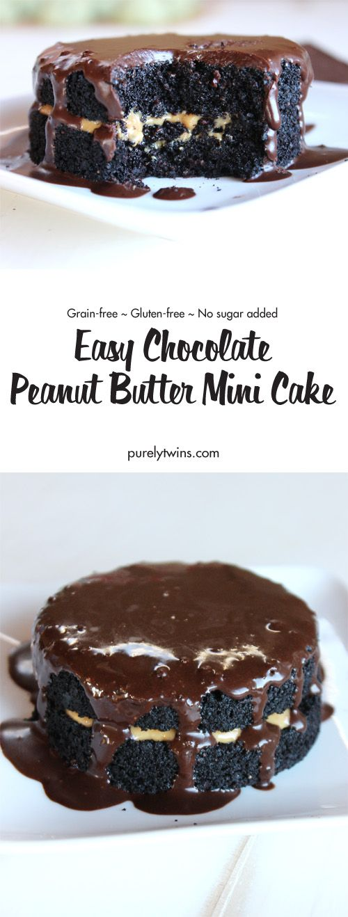 Heavenly. Delicious.Perfect Chocolate Reese's Peanut Butter Inspired Cake (grain-free, gluten-free, low sugar, paleo and vegan option) Take only 15 mins to make, 8 ingredients and serves 1. A fun and healthy dessert made super easy!