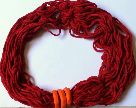 net necklace redorange di ilFilodiFranci su Etsy