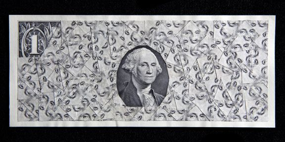 "Max Shuster: Economic Solution Number Three,  collage consisting of cut united states currency, pasted onto a one dollar bill. collage is entirely made from one-dollar bills, acid-free adhesive. the eyes of washington were cut for this particular one. ""took cut money to bank, they gave me new ones"""