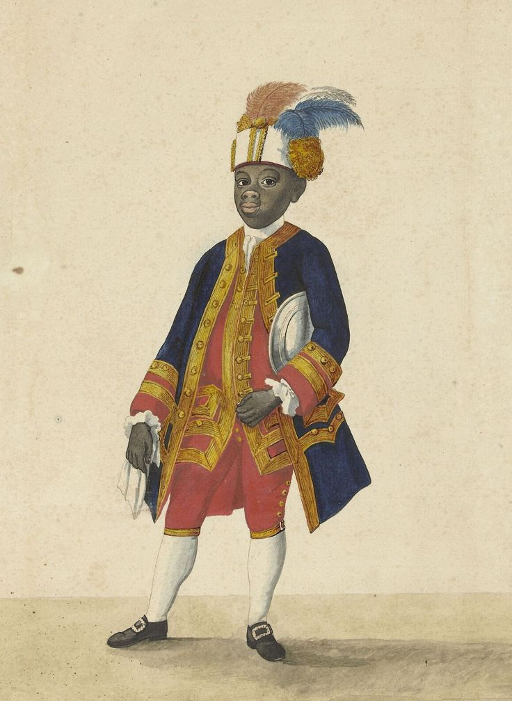 """Паж с Кюрасао. К истонии ВИК medievalpoc: """" Isaac Lodewijk la Fargue van Nieuwland Portraits of Guan Sideron and Cupid, pages from Curacao at the court of Stadtholder William V of the Dutch Republic Netherlands (c. 1766) Rijksmuseum, Amsterdam There's a bit of text about them at..."""