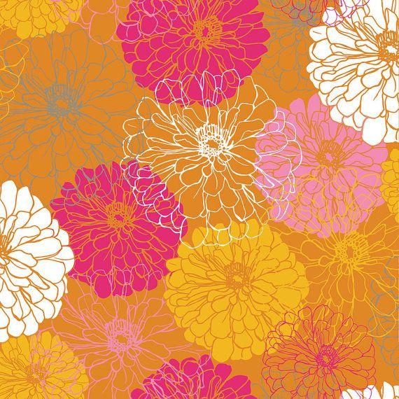 Blend Fabrics Blomma Elioso Orange-1 Yard-Floral Fabric