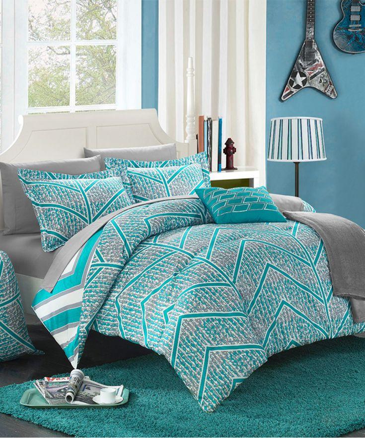 Aqua Chevron Stripe Reversible Comforter Set