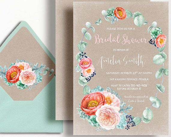 Kraft Bridal Shower Invitation Peony Rustic Succulent Peach Coral Mint Peach Watercolour Wreath by WestminsterPaperCo