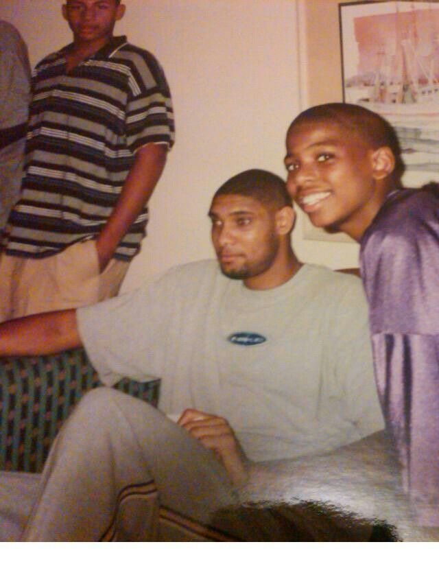 13 year old Chris Paul with then NBA Rookie of the Year Tim Duncan. Both played collegiate ball at Wake Forest.