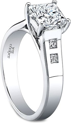 Jeff Cooper Trellis Engagement Ring w/ Princess Cut Side Stones  : This modern trellis engagement ring setting by Jeff Cooper features four burnished princess cut side diamonds and will perfectly show off your choice of a center diamond. This setting is also available in two larger versions; please call for pricing.