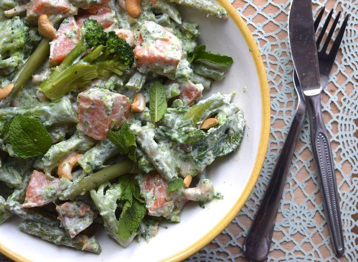 Skinny Six: Zoete aardappelsalade met sperzieboontjes, supersnel en met lekker veel groenten! #healthy #lunch #diner