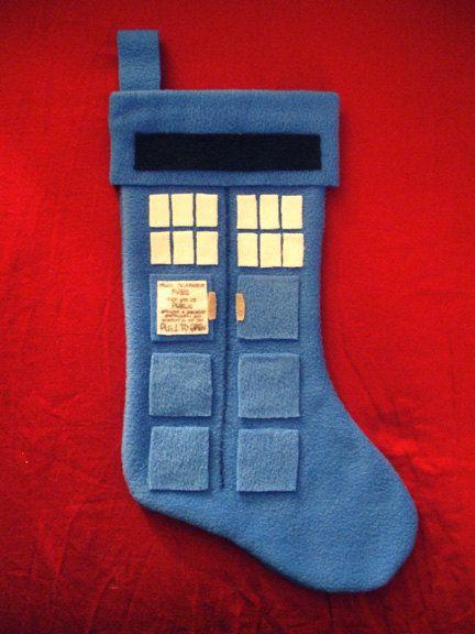 TARDIS Christmas stocking... I sure hope it's bigger on the inside...